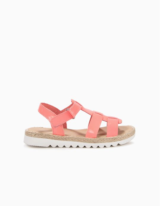 Varnished Sandals with Jute for Girls, Pink