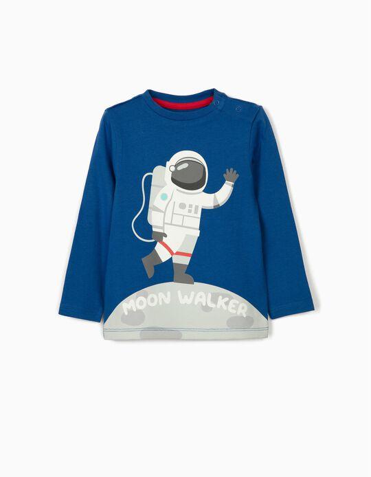 T-shirt Manga Comprida para Bebé Menino 'Moon Walker', Azul