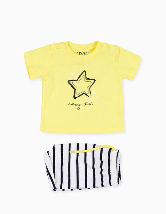 T-shirt e Calções para Recém-Nascido LOSAN, Amarelo/Branco