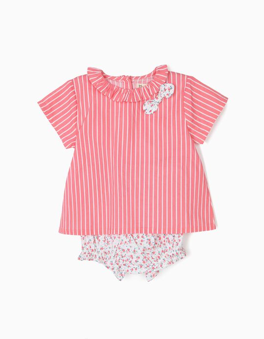 Blusa e Tapa-Fraldas para Bebé Menina Riscas e Flores, Branco e Rosa