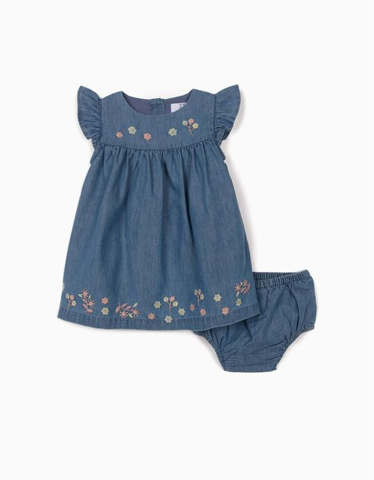 Dress with Bloomer Shorts for Newborn Baby Girls, 'Comfort Denim', Blue