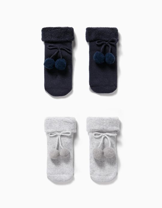 2-Pack Socks with Pompoms for Baby Girls, Dark Blue/Grey