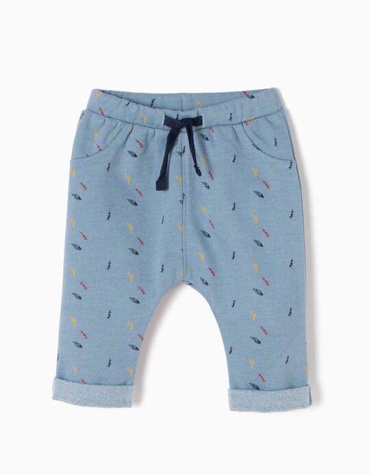 Pantalón de Felpa Hojitas Azules