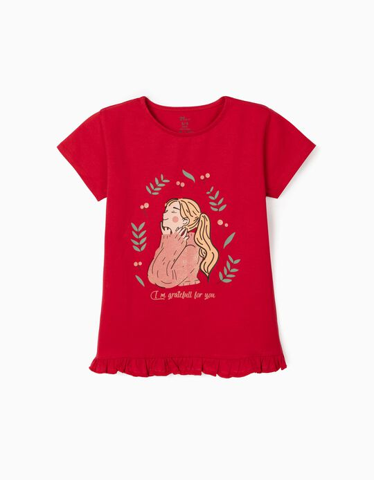 T-shirt for Girls in Organic Cotton, 'Grateful', Red