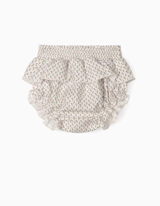 Floral Shorts for Newborn Baby Girls, White
