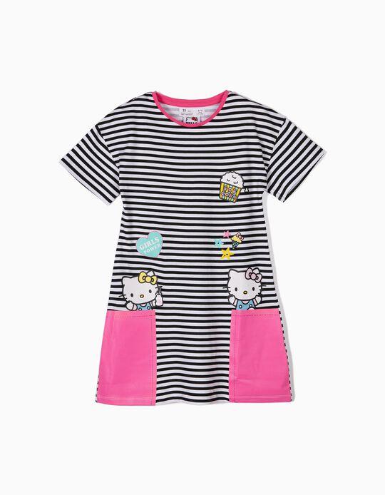 Vestido para Menina 'Hello Kitty' Riscas, Preto e Branco