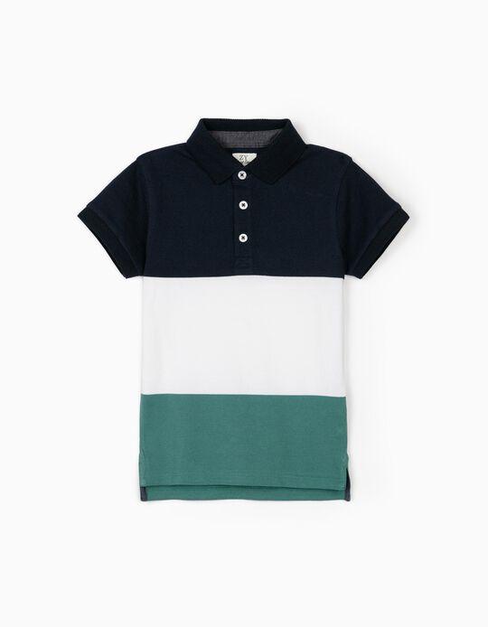 Polo manches courtes  garçon, bleu/blanc/vert