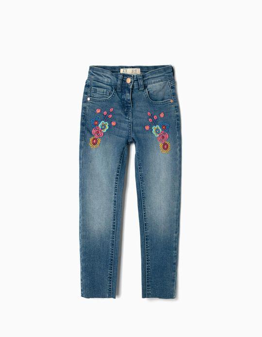Pantalón Vaquero para Niña 'Flores', Azul