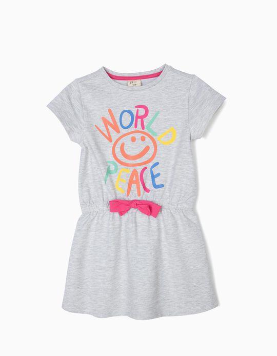 Vestido para Menina 'World Peace', Cinza