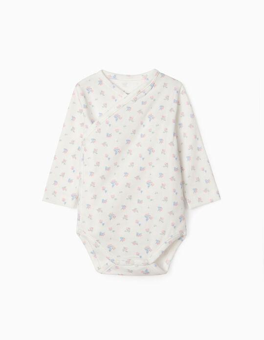 Long Sleeve Bodysuit for Newborn Baby Girls, 'WH', White