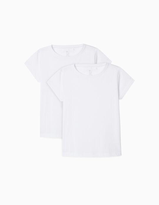 2 Plain T-Shirts for Girls, White
