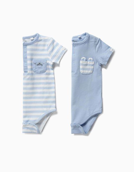 2 Bodies para Recién Nacido 'Animals', Azul