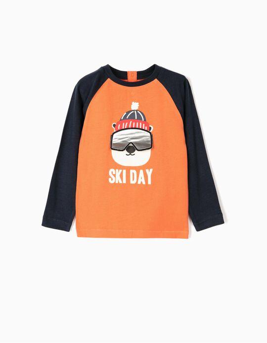 Camiseta de Manga Larga para Bebé Niño 'Ski Day', Naranja y Azul