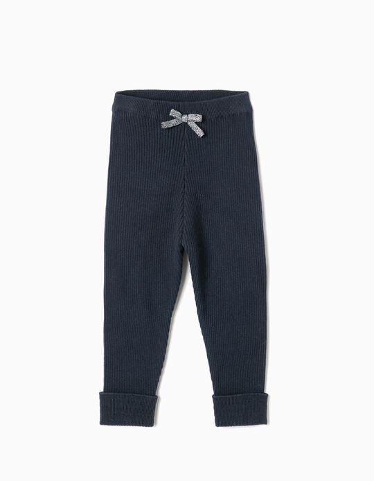 Calças de Malha Canelada para Bebé Menina, Azul-Escuro