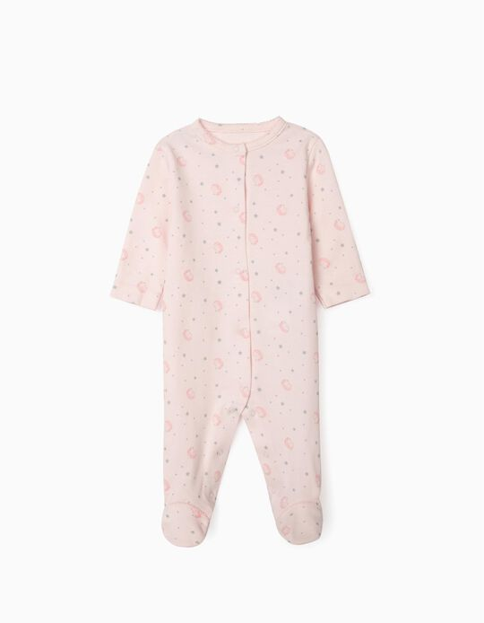 Long Sleeve Sleepsuit for Newborn Baby Girls, 'WH', Pink