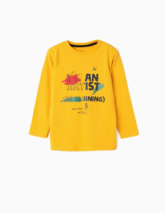 Camiseta de Manga Larga para Niño 'Artist', Amarilla