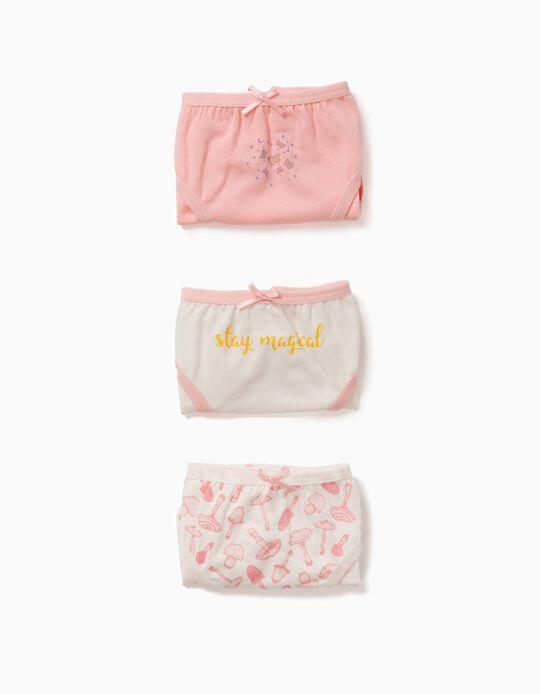 Pack 3 Cuecas Rosa e Branco Magical