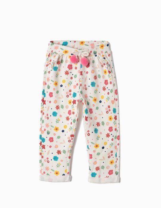 Pantalón de Chándal para Bebé Niña 'Flores', Blanco