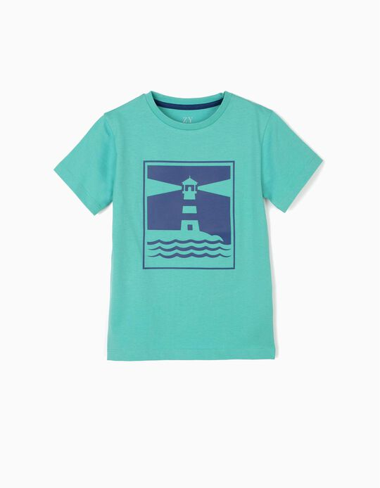 T-shirt para Menino 'Lighthouse', Verde