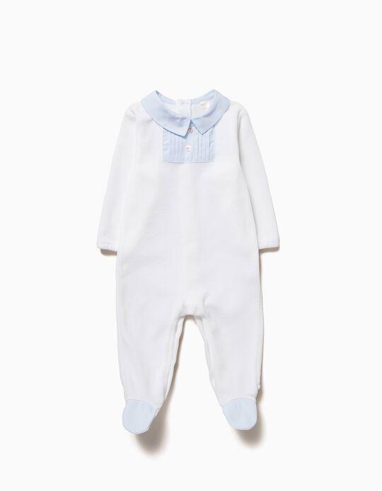 Babygrow Veludo Combinado Branco e Azul