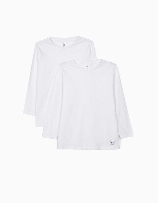 2 T-shirts Manga Comprida para Menino, Branco