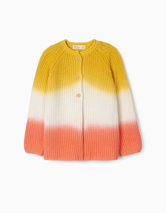 Degradé Knit Cardigan for Girls, Yellow/White/Pink