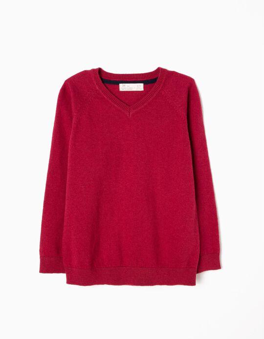 Jersey de Punto Fino Rojo Oscuro