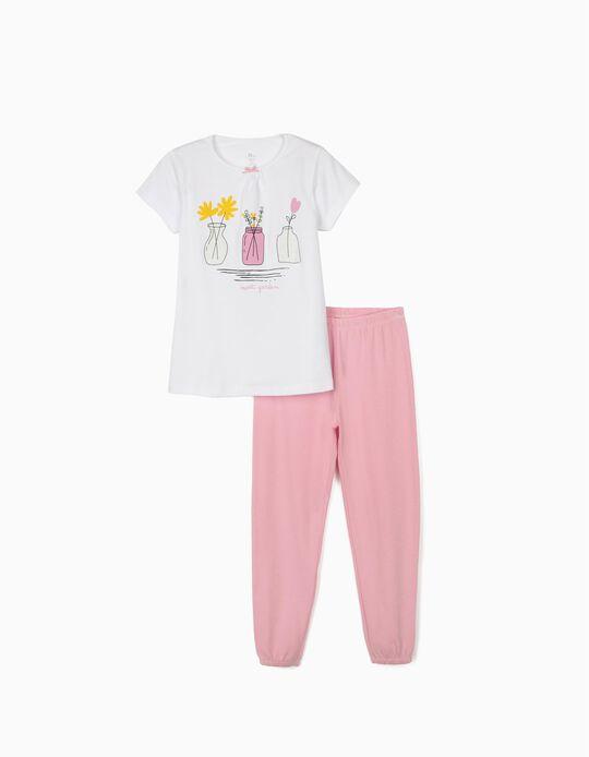 Short Sleeve Pyjamas for Girls, 'Sweet Garden', White/Pink