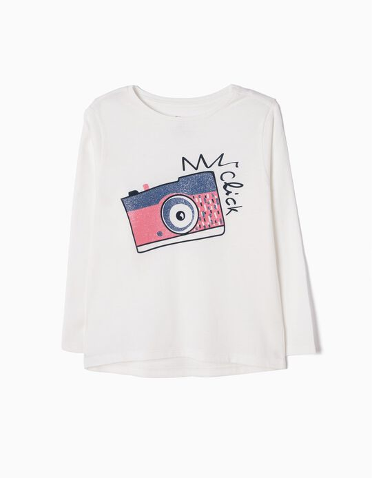 T-shirt Manga Comprida Camera Branca