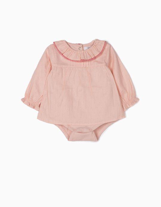 Body Blusa para Recién Nacida 'Lunares', Rosa Claro