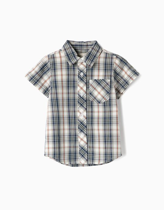 Camisa Manga Curta para Bebé Menino 'Xadrez', Verde e Branco