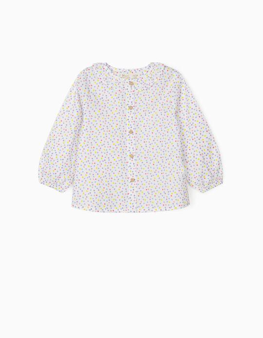 Blusa para Bebé Menina 'Dots', Branco