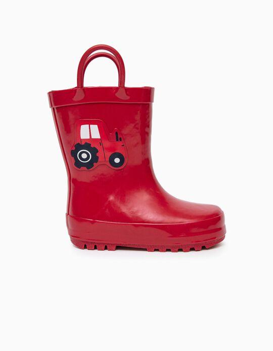Botas de Agua para Bebé Niño 'Tractor', Rojo