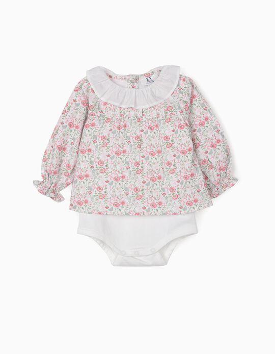 Body-Blusa Florida para Bebé Menina, Branco/Rosa