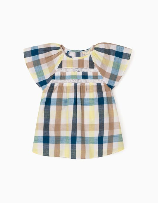 Chequered Blouse for Girls, 'B&S', Multicoloured