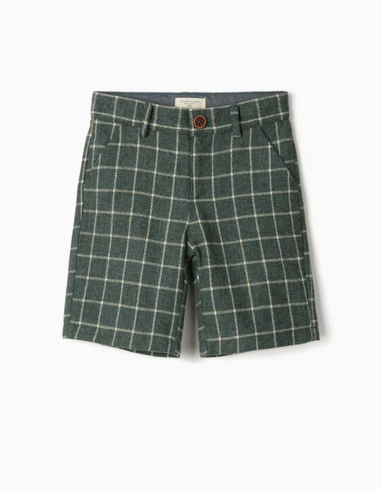 Plaid Shorts for Boys 'B&S', Green