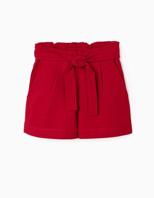 Calções Paper Bag para Menina, Vermelho