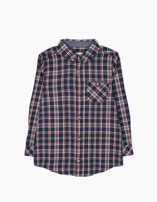 Camisa Xadrez com Bolso Azul