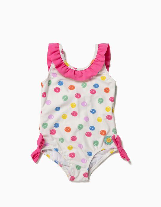 Bañador para Bebé Niña 'Lunares' Antirrayos UV 80, Blanco