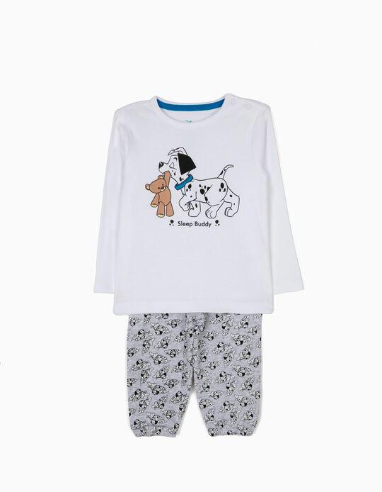 Pijama Manga Larga y Pantalón 101 Dálmatas Blanco y Gris