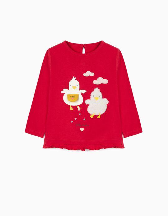 T-shirt Manga Comprida Algodão Orgânico para Bebé Menina, Vermelho