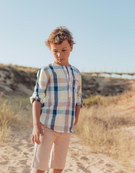 Camisa Ajedrez para Niño 'B&S', Azul/Amarillo