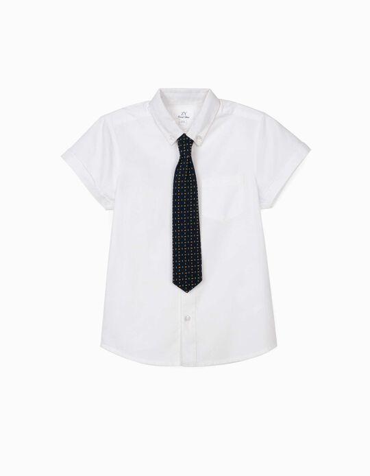 Chemise avec cravate garçon, blanc