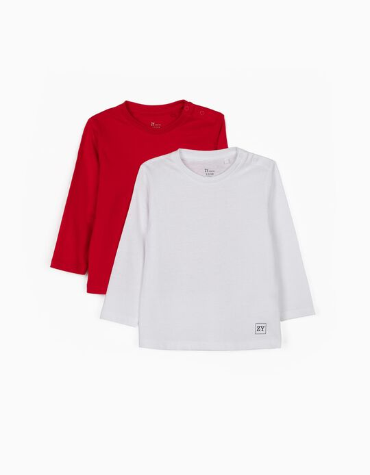 2 Long Sleeve Tops for Baby Boys, Red/White