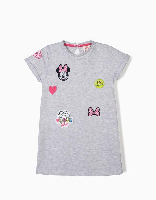 Vestido para Menina 'Minnie' com Aplicações, Cinza