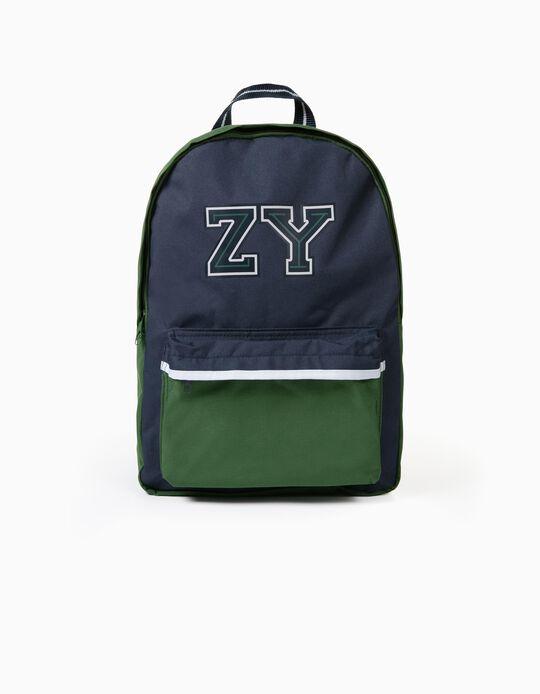 Mochila para Menino 'ZY', Verde/Azul Escuro