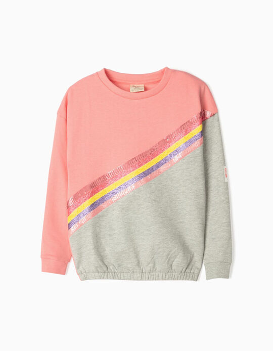 Sweatshirt for Girls 'Cosmic Little World', Pink/Grey