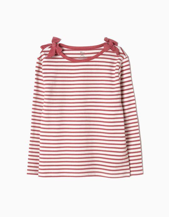 T-shirt de Manga Comprida Riscas e Laços Rosa
