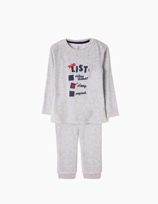 Pijama Veludo Checklist Cinzento