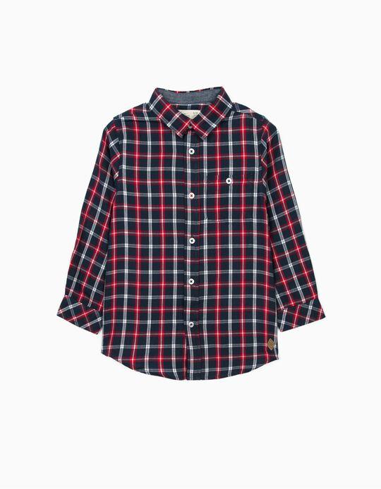 Camisa Ajedrez con Coderas para Niño, Azul/Rojo